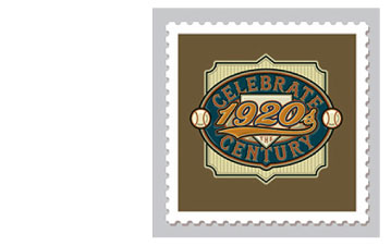 Design & Illustration for the USPS Celebrate The Century Stamp Book - 1920's. Representing the Great American Pastime of the decade.