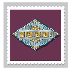 Design & Illustration for the USPS Celebrate The Century Stamp Book - 1930's. Representing the influence of Art Deco on US Architecture and embellishments of the decade.