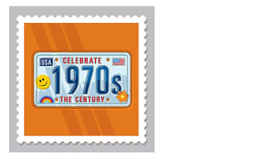 Design & Illustration for the USPS Celebrate The Century Stamp Book - 1970's. The personalized licence plate phenomenon representing pop cultural influence on the decade.