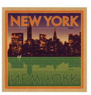Intended to replicate a bygone era where travel labels created a longing to visit exciting destinations,  I like to refer to these labels as NuVintage. Perhaps a twilight, summer view from New Jersey in the early 1960s?