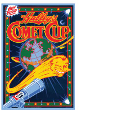 Design & Illustration for Posters & Cups for Pepsi Corporation commemorating the return of Halley's Comet.