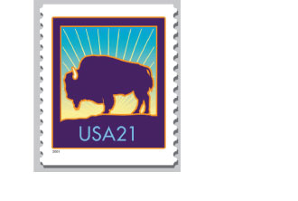 The original denomination for this stamp commission by USPS Stamp Committee was for a Bulk Rate stamp. The direction was changed for a second ounce but the image survived and this Bison 21¢ Stamp was issued in 2001. It is in the permanent collection of the Buffalo Bill Museum~Cody,Wyomig.